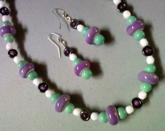 Lavender, Mint Green, Black and White Necklace and Earrings (1257)