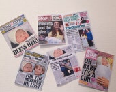 Dolls House Miniatures -  6 x UK Newpapers - Set A - Royal Baby Princess Charlotte - NEW SPRING 2015
