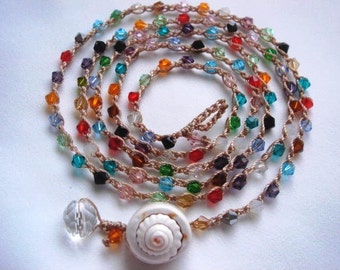 Crochet Wrap Bead Necklace, Crochet Bracelet, Bohemian Summer Jewelry, Boho Chic,  Surfer Jewelry, Spyral Sea Shell,  Multicolor Jewelry