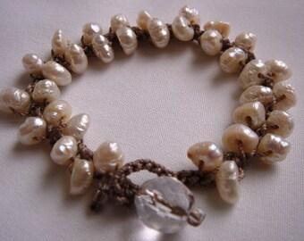Pearl Crochet Bracelet, Crochet Pearl Bracelet, Bride Bracelet, Pearl Bracelet, Pearl Jewelry, Crochet Wrap Pearl Bracelet, Beach Jewelry