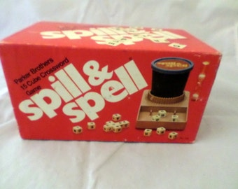 Spill and Spell Game Vintage 1972 Parker Brothers SPILL and SPELL Game Dice Cube Crossword Game 1972 Complete ready for ur family game nite