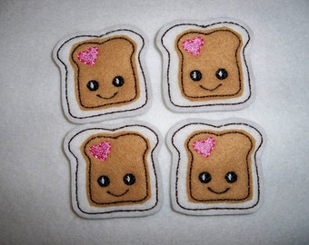 Feltie Machine Embroidered Hand made (4) Felt Peanut Butter Toast CUT Embellishments / appliques