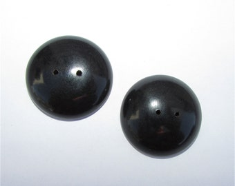 Two Tagua Nut Buttons, EcoBeads 57, Black Buttons, Natural Buttons, Organic Buttons, Vegetable Ivory Buttons