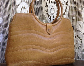 40s French Vtg natural leather handbag with art deco round handle