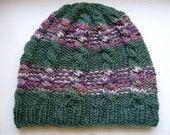 Hand Knit Adult Cable Beanie, Cute And Unique Hand Knit Wool Hat -Color Olive Green Striped