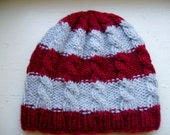 Hand Knit Adult Cable Beanie, Cute And Unique Hand Knit Hat -Color Wine and Gray Striped - Mohair Like Acrylic Yarn