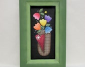 Tulips in Basket, Folk Art Flowers with Red Heart, Reclaimed Wood Frame, Tole Painted on Black Screen, Spring Flowers,Mother's Day