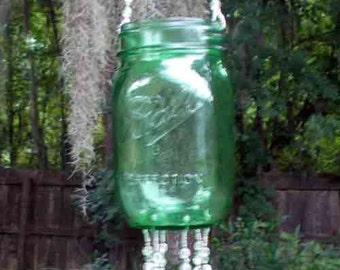 Green Pint Sized Ball Canning Jar, Repurposed and Upcycled into a Windchime, Luminaria, with Stained Glass Chimes