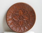 Vintage Carved Wood Wall Art, Large Round Plate Possibly From Thailand Or Indonesia, Bohemian Tribal Decor