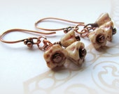 Czech glass flower earrings. Copper flower earrings. Caramel czech glass flower earrings. Beige earrings. Boho chic. Bohemian. Summer. Gift