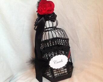 Birdcage Card Holder in Elegant Black & red theme.
