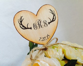 Heart with Antlers Cake Topper. Monogramed Cake topper Customizable