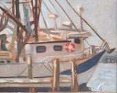 Original Plein Air Oil Painting Shrimp Boat
