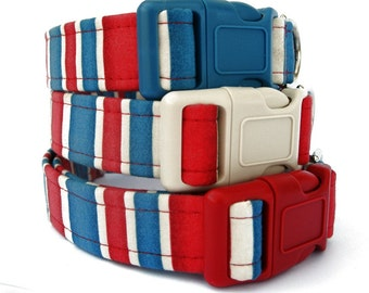 Custom Dog Collar - London Calling in Red, Blue and Off White