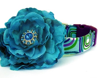 Retro Dog Collar in Teal with Flower Accessory