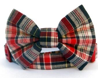 Plaid Bow Tie Dog Collar - Americana Plaid