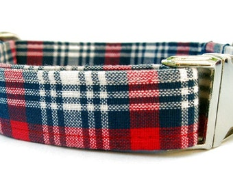 Red White and Blue Plaid Dog Collar, Nickel Plate Metal Hardware, Memorial Day Dog Collar, 4th of July Dog Collar, Labor Day Dog Collar