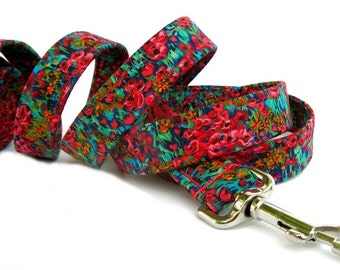 Floral Dog Leash - Wildflowers in Fuchsia Teal Blue Green