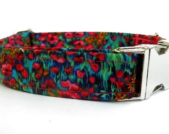 Floral Dog Collar with Nickel Plate Hardware - Wildflowers in Fuchsia Teal Blue Green