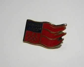 Vintage USA Olympic sponsorship advertising Flag pin pinback: Maxwell House Coffee