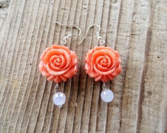 Dangling Peach Roses and Pale Pink Crystals Earrings