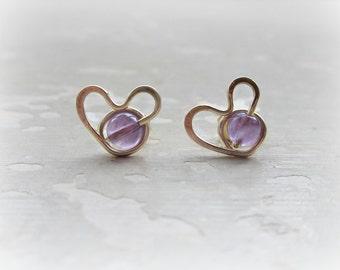Valentines Day, Heart Stud Earrings, Amethyst Posts, Amethyst Heart Posts, February Birthstone, Gold Heart Studs, Amethyst Stud Earrings