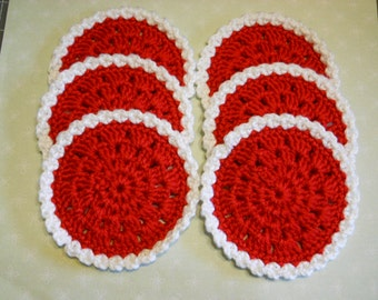 Coasters Set of 6 in Red and White  Valentines Day Theme