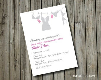 DIY Printable Bachelorette Party Lingerie Invitation DIGITAL FILE