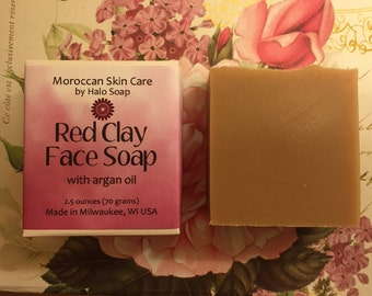 Red Clay Face Soap with Argan Oil - Moroccan Skin Care
