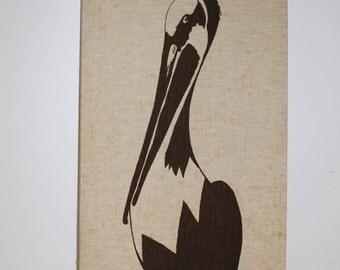 1979 Vintage Marushka Brown Pelican Print