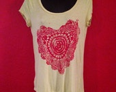 My Happy Heart, Upcycled top, hand printed, Womens M