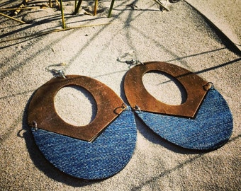 Denim Earrings- Oval Wood Cut out Jean Earrings