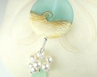 Eco Friendly GENUINE Sea Glass Jewelry Larger Wave SRA Lampwork Beaded Necklace