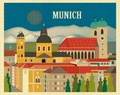 Munich Skyline Print, Munich Germany Art Print, Loose Petals Art, Munich Wall Art Gift, Munich Nursery Art, Munich Print, style E8-O-MUN