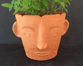 Bearded Pot Head // small herb planter