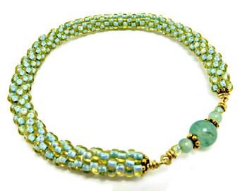 Aventurine & Green Glass Bangle Bracelet