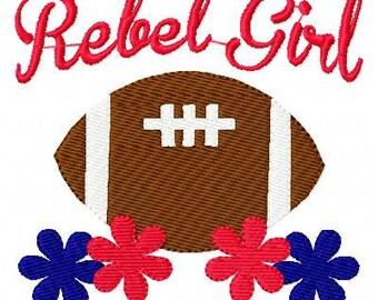 Rebel Girl Football Machine Embroidery Design Joyful Stitches // Joyful Stitches