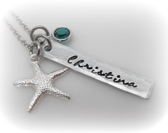 Starfish Necklace Personalized Beach Necklace Beach Charm Starfish Jewelry Beach Girl Necklace