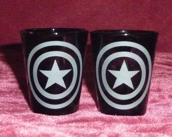 SET OF 2 Etched Solid Black Shot Glasses, CAPTAIN America