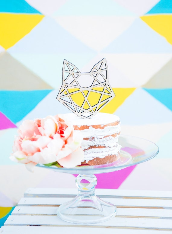 Geometric Cat Head Cake Topper Geometric Cat Head
