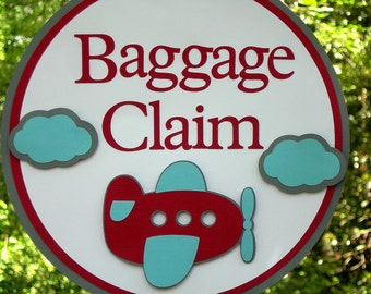 Baggage Claim Airplane and Clouds Door Sign in Red, White, Blue, and Gray for Birthday or Baby Shower