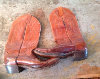 Vintage Dan Post Marlboro Leather USA Cowboy Boots Size 9 EW