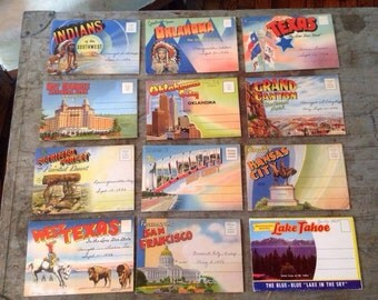 Vintage 1940's Postcards Souvenir Folders Linen Booklet Lot of 12