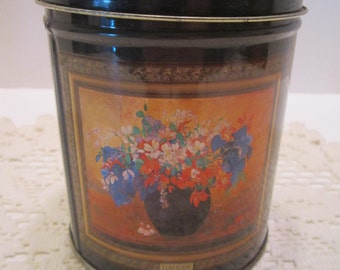 Vintage French Art Design Tin Canister - French Art Decor - Storage or Accent Piece