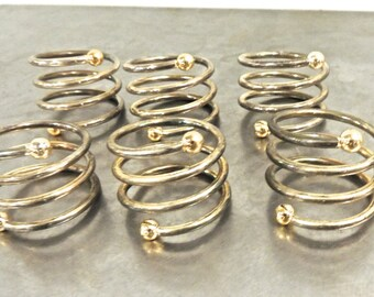 vintage brass napkin rings - 1950s-60s atomic mid century gold/silver napkin rings set of 6