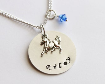 Horse Necklace Silver, Personalized Name Necklace, Birthstone Acrylic Color, Customized Necklace, Girl Gifts