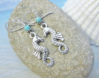 SALE 20% off! Seahorse Earrings, Silver, Seahorse Jewelry, Nautical Jewelry