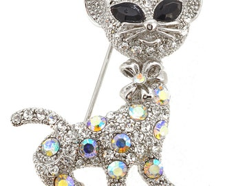 Silver Kitty Pin Brooch 1004581