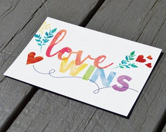 Love Wins Art print - Marriage Equality - Gay Marriage - Gay Pride - Rainbow Watercolor - SCOTUS - Love is Love