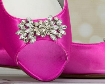 Wedding Shoes - Flats - Peep Toe Flats - Pink Wedding Shoes - Crystal - Pink - Shoes - Wide Sizes - Choose Over 200 Colors Parisxox